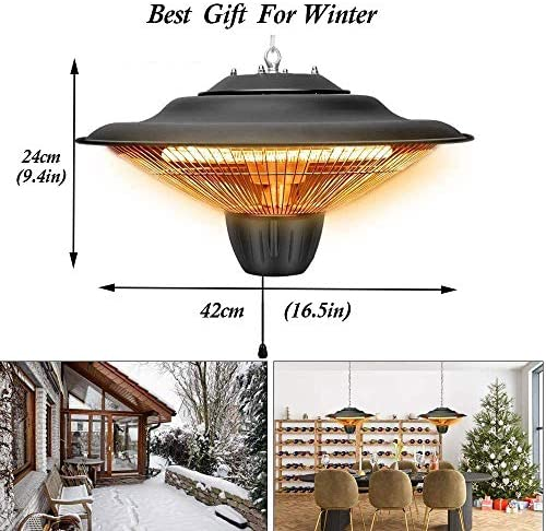 JCX Outdoor Electric Patio Heater,Umbrella Heater with 2 Gears Adjustable,Hanging Weatherproof Infrared Radiant Heater with Remote Control,Ceiling Mounted(16.5×9.4in): Home & Kitchen