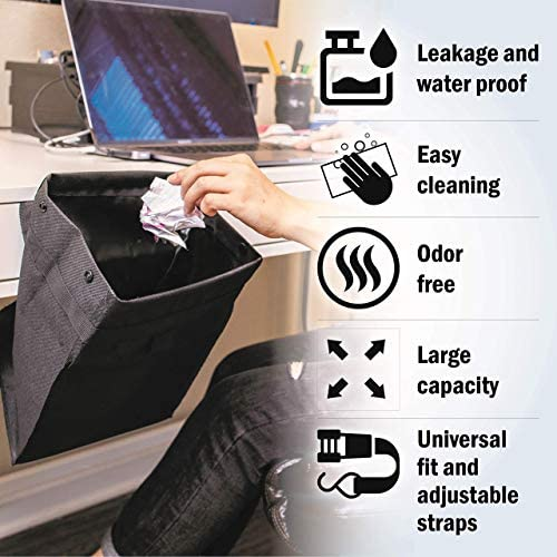 Econour Hanging Car Trash Bag Waste Bin | Leakproof Litter Basket | Collapsible Storage Container / Holder | Receptacle Garbage Bag | Interior Accessories for Vehicle Back seat | Auto car Organizer: Automotive