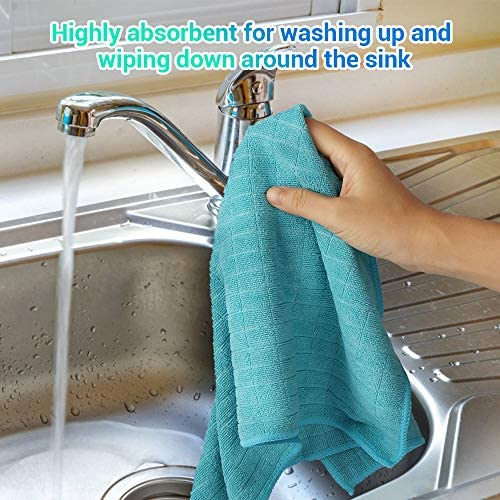 AIDEA Microfiber Kitchen Towels Cleaning Dish Cloths Softer Highly Absorbent, Lint Free Streak Free for Tackling Any Cleaning Job (14''x16'')-Set of 6: Home & Kitchen