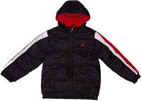 Nike Air Jordan Boys Puffer Bubble Jacket Black/Red 4: Sports & Outdoors