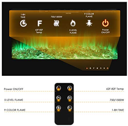 LAZY BUDDY 36'' Recessed Electric Fireplace, Wall-Mounted 1500W Heater, with Remote Controller&Touch Screen, Log & Crystal, Adjustable Timer and 9-Color&5-Speed Flame, Fit for 2x4&2x6 Stud (36): Home & Kitchen
