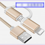 Universal Charging Cable One For Two Nylon Data Cable