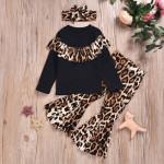 Girls Leopard Headwear + Jacket + Trousers Suit Three-piece