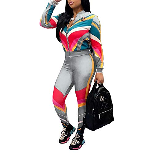 Sweatpants Sweatsuits Set Sprifloral 2 Piece Outfits for Women Tracksuits Striped Zipper Jacket