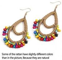 Bohemian Rattan Colorful Wooden Beads Fish Hook Teardrop Earrings Dangle Drop Jewelry for Women Girls: Jewelry
