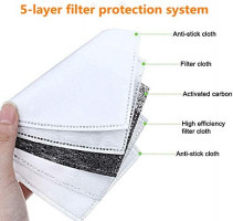 20Pcs PM2.5 Activated Carbon Filter Breathing for Mask with Insert 5 Layers Protective Filter: Sports & Outdoors