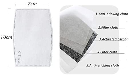 CHRISLZ 30 PCS PM2.5 Activated Carbon Filter Mouth Masks 5 Layer Protective Filter Mask Filter