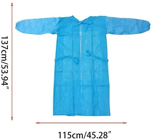 Disposable Isolation Gown with Elastic Cuff, Latex Free, Non-Woven, Fluid Resistant, ONE Size FITS All, (5 Pack) Blue