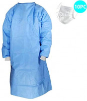 Medical Isolation Gowns. Blue Protective Gowns with Long sleeves, Neck and Waist ties. Non-sterile examination gowns. Spunbonded Polypropylene. Latex-free. … (white): Home Improvement