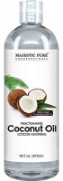 Majestic Pure Fractionated Coconut Oil, For Aromatherapy Relaxing Massage, Carrier Oil for Diluting Essential Oils, Hair & Skin Care Benefits, Moisturizer & Softener - 16 Ounces : Beauty
