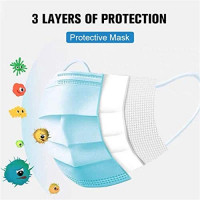 50pcs 3-Ply Disposable Face Mask Can be Used in Offices, Households Sensitive to Pets, and Crowded Places, with Elastic Earloop Random Color (Blue White): Health & Personal Care
