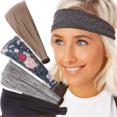 Hipsy Adjustable Cute Fashion Sports Headbands Xflex Wide Hairband for Women Girls & Teens (3pk Grey/Floral/Navy Xflex) at Women's Clothing store