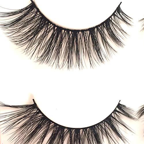 Imported Fiber 3D Mink False Eye lashes Handmade Reusable Long Cross Makeup Natural 3D Fake Thick Black EyeLashes 3 Pairs(3D-01) : Beauty