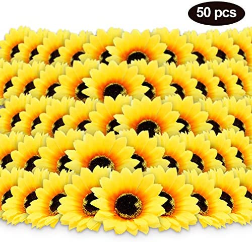 "50pcs 3.8"" Artificial Silk Sunflower Heads Yellow Fabric Floral for Home Party Decoration Wedding Decor, Bride Holding Flowers Centerpieces Wreath Garden Craft DIY Art Decor Classroom Crafts Decor: Home & Kitchen"