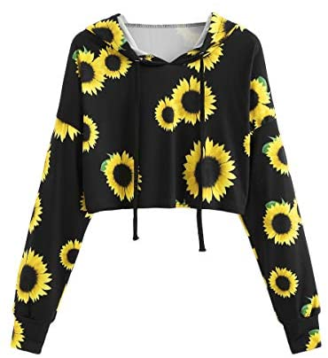 ROMWE Women's Long Sleeve Hooded Floral Print Crop Hoodie Sweatshirt: Clothing