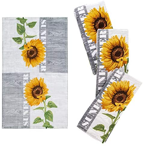 """Franco Kitchen Designers Set of 4 Decorative Soft and Absorbent Cotton Dish Towels, 15"""" x 25"""", Sunflower Country: Home & Kitchen"""