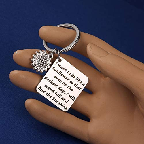 MIXJOY Sunflower Charm Keychain I Want to be Like a Sunflower Floral Key Chain Spiritual Gifts for Women: Jewelry