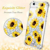 Caka iPhone 6 6S 7 8 Case, iPhone 6S Floral Glitter Case with Tempered Glass Screen Protector Bling Flowing Floating Luxury Sparkle Soft TPU Liquid Case for iPhone 6 6S 7 8 (4.7 inch) (Sunflower)