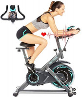 ANCHEER Exercise Bike Stationary, 330 Lbs Weight Capacity - Cycling Bike Heart Rate Monitor & Tablet Holder and LCD Monitor for Home Workout (Gray) : Sports & Outdoors