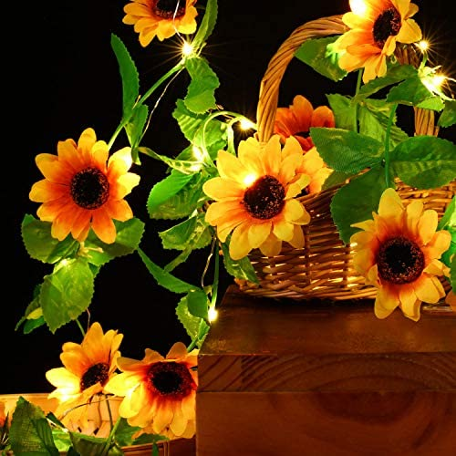 Artificial Sunflower String Lights Sunflower Home Decor Sunflower Battery Operated String Fairy Lights for Indoor Bedroom Wedding Home Garden Decor, Warm White (30 LEDs and 11 Flowers, 7.2 ft, 7.2 ft : Garden & Outdoor