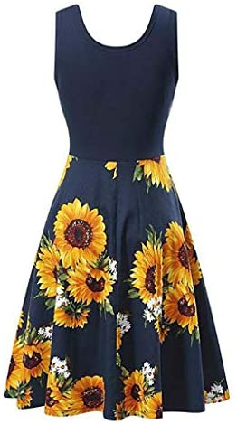 Euone Dress Clearance, Women Patchwork Vintage Dress Sunflower Print Sleeveless Ruched Swing Dresses O-Neck Elegant A-Line Party Ball Gown: Clothing