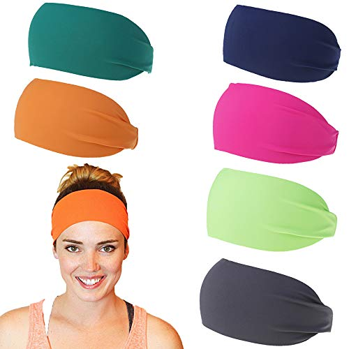 Non Slip Headbands for Women Yoga Sweatband, Stretchy Soft Running Wicking Head Sweat Set, Lightweight Elastic Exercise Band, Workout Sports Fitness Gym (XM228 6Pack) : Beauty