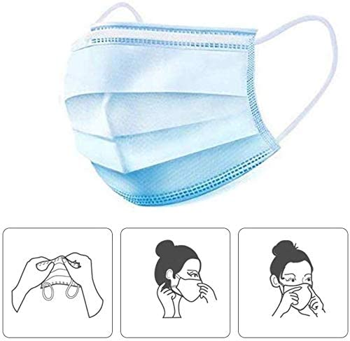 sanrense 50 Pcs Disposable Face Ma sks,3Ply Breathable and Comfortable Ma sks with Earloop Anti Dust Breathable Disposable Earloop Mouth Face Ma sk Protection and Personal Health: Home Improvement