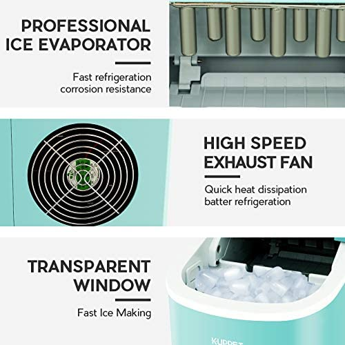 KUPPET Portable Ice Maker Countertop Ice Cube Maker Machine with 26lbs Daily Capacity, 9 Ice Cubes Ready in 8 Minutes: Kitchen & Dining