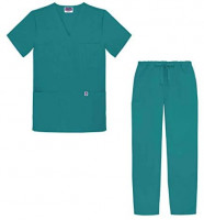 Sivvan Unisex Classic Scrub Set V-Neck Top/Drawstring Pants (Available in 15 Solid Colors): Clothing