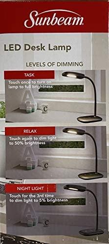NEW SUNBEAM FLEXIBLE NECK LED DESK LAMP ADJUSTABLE LIGHT ENERGY STAR BLACK: Clothing