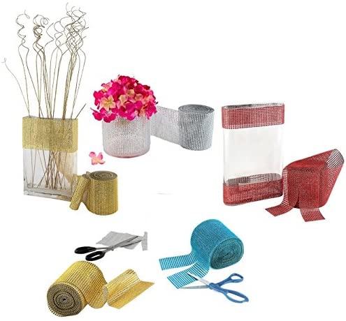 "Diamond Rhinestone Mesh Ribbon Supreme Quality Sparkling Bling Wrap Ribbon Bulk DIY Roll for Arts Crafts Party Decorations, Orange Red, 4.75"" x 10 Yards, 24 Row, 1 Roll"