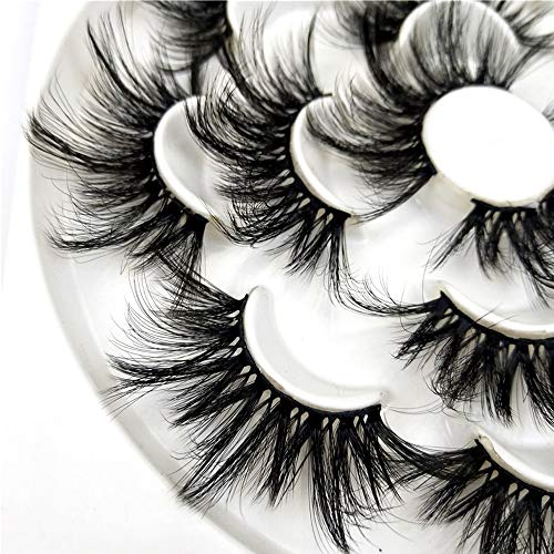 DAODER 25mm Mink Lashes Faux Dramatic Long False Eyelashes Wispies Fluffy Big Fake Lashes for Women Bold Makeup 7 Packs : Beauty