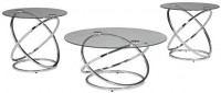 Signature Design by Ashley - Hollynyx Contemporary 3-Piece Table Set - Includes Cocktail Table & Two End Tables, Chrome Finish: Kitchen & Dining