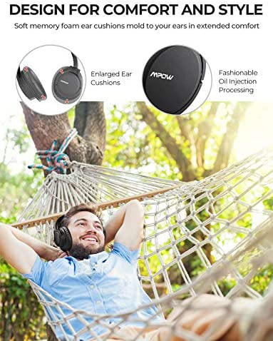 Mpow H7 Pro Bluetooth Headphones Over Ear, Bluetooth 5.0 Wireless Headphones with Rapid Charge, w/Built-in Mic Wired Headsets, Hi-Fi Stereo Headphones for Online Class, Home Office, Tablets