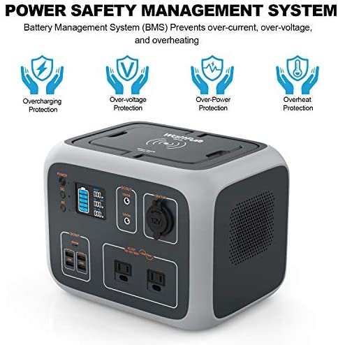 Portable Power Station 500Wh, WattFun Solar Generator for Camping Backup Lithium Battery with Dual 110V AC Outlet, Wireless Charging, Type-C Port, 4 USB Ports for Outdoors Travel Home Emergency : Garden & Outdoor