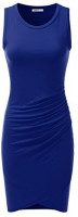 Doublju Stretchy Fitted Tulip Hem Tank Dress for Women with Plus Size (Made in USA) at Women's Clothing store