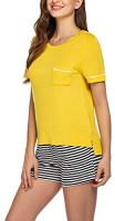 Ekouaer Womens Pajama Set Striped Short Sleeve Sleepwear Pjs Sets(S-XXL) at Women's Clothing store