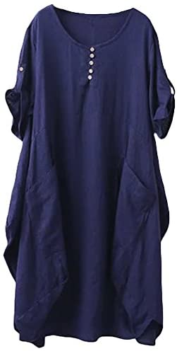 Minibee Women's Ruffle Oversize Casual Midi Dresses with Pockets at Women's Clothing store