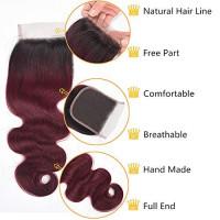 ALI RAIN Ombre Brazilian Hair Bundles with Closure 10A Ombre Body Wave Bundles with Closure 3 Bundles with Closure Ombre Human Hair with Closure (20 22 24 + 18, T1B/99J) : Beauty