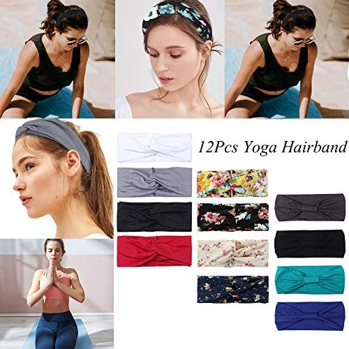 LOYALLOOK 12Pack Multi-Function Headband for Women Boho Floal Turban Knotted Yoga Head Wrap Fashion Workout Running Athletic Travel Wear Wide Stretchy Wraps Elastic Hairband: Jewelry