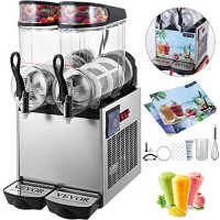VEVOR 110V Slushy Machine 12Lx2 Bowl Frozen Drink 700W Margarita Maker for Supermarkets Restaurants Commercial Use, 24L, Sliver: Kitchen & Dining