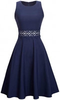 HOMEYEE Women's Sleeveless Cocktail A-Line Embroidery Party Summer Wedding Guest Dress A079: Clothing