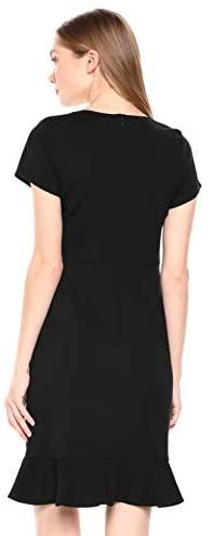 Lark & Ro Women's Short Sleeve Open Crew Neck Ruffled Hem Ponte Shift Dress: Clothing