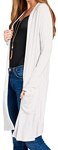 LALABEE Women's Long-Line Long Sleeve Open Front Cardigan with Pockets (S-3XL) at Women's Clothing store