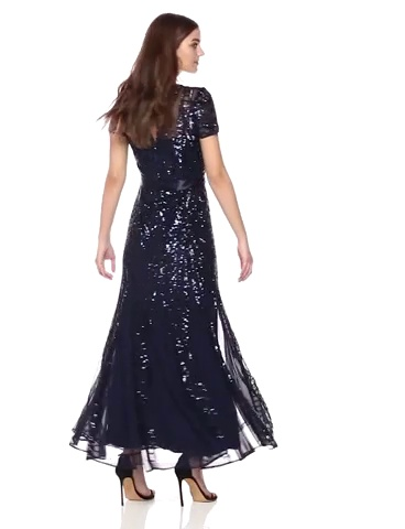 R&M Richards Women's One Piece Short Sleeve Embelished Sequins Gown at Women's Clothing store