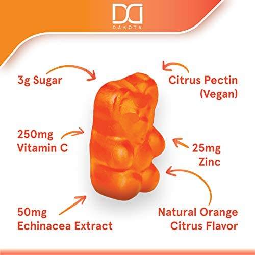 Vitamin C Gummies with Zinc for Immune Support Booster Supplement for Adults Kids, Immunity Support System - Gluten Free, Organic, Vegan, Citrus Orange Pectin Gummy - Promotes Health Wellness (2 Pack): Health & Personal Care