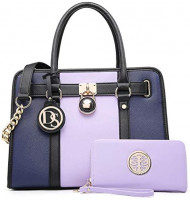Women Handbags Purses Two Tone Satchel Bags Top Handle Shoulder Bags Work Tote with Matching Wallet (Light Purple/Navy): Shoes