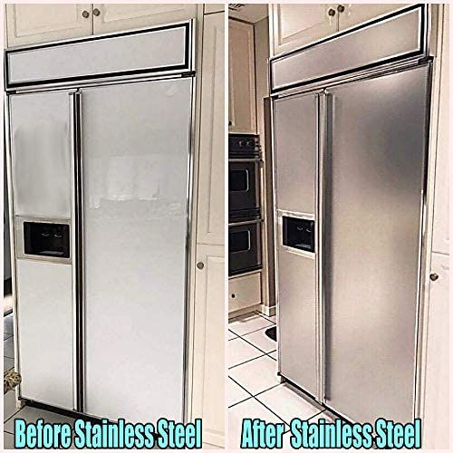 Stainless Steel Paint? NO! Appliance BRUSHED Stainless Steel Satin Film 36 inches x 72 inches Adhesive Film This Smudge Proof, Peel and Stick Vinyl Contact Paper: Appliances