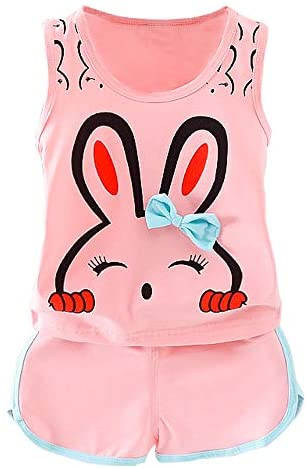 MH-Lucky Baby Girl Clothes Outfits Short Sets 2 Pieces with T-Shirt + Short Pants: Clothing