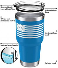Heato Trump Keep America Great 2020, Double Wall Stainless Steel Insulated Travel Mug Coffee Cup with Lid (Blue, 20 oz): Kitchen & Dining
